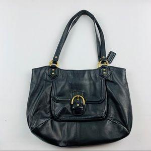 Coach Campbell Shoulder Bag Purse Black Leather